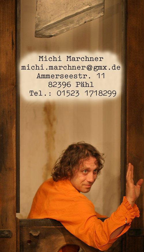 Michi Marchner<br /><br /><br /><br /><br /><br /><br /><br /><br /> michi.marchner{at}gmx{punkt}de<br /><br /><br /><br /><br /><br /><br /><br /><br /> Mayrhoferring 1<br /><br /><br /><br /><br /><br /><br /><br /><br /> 82229 Seefeld
